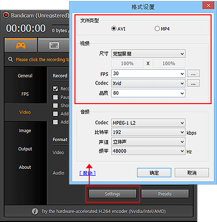 Video Format Settings